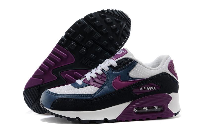 Nike Air Max 90 Blanc Et Noir Et Violet Femme Air Max Nike